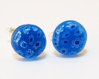 cufflink: millifori in blue