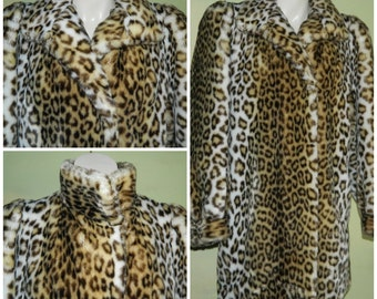 M L 70s / 80s Glam Faux Fur Meow Leopard Print Coat Hillmoor New York Acrylic Made in the USA Plush Luxurious Diva Coat