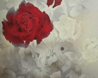 Silk Kimono Fabric Wrap/Shawl/Scarf/Shrug..Painted Florals/Roses/Ladybug..Bridal/Wedding..Pink/Grey/Ivory/Rose/Clutch to match..OOAK