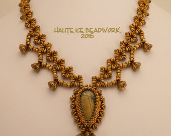 Bronze Buds and Bells Beadwoven Necklace