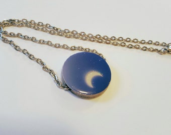 Crescent Moon Flat Paper Bead Necklace