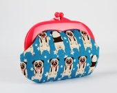 Plastic frame purse - Cute pugs on blue - Gamaguchi medium / Neon pink kisslock purse / Japanese fabric / stars / puppies / kawaii dogs