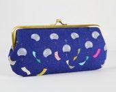 Eyeglass frame purse - Chimes cobalt - Long purse / Eyeglass fabric case / Cell phone holder / Cotton and Steel / Zephyr / emerald pink