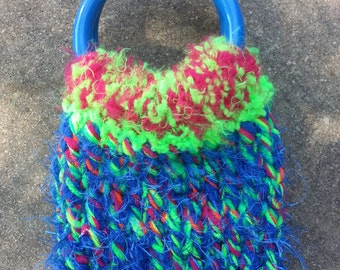 Smartphone Sweater Cozy Bangle Bag Neon Bright Calypso  - OOAK handknit from an EtsyMom