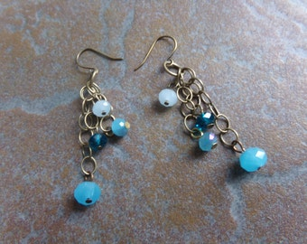 Shades of Blue Brass Chain Earrings. Sparkly Dangles