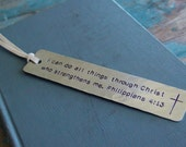 I Can Do All Things Through Christ Who Stengthens Me, Stamped Bookmark, Cross Bookmark, Bible Verse Bookmark, Philippians 4:13, Baptism Gift