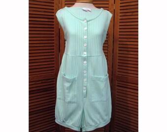Vintage mint green romper cover-up cotton jumpsuit size Sm