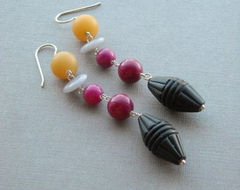 totem earrings - vintage lucite and sterling
