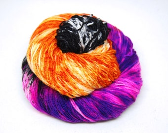 "Acoustic Sock Yarn - ""Casting Spells"" - Handpainted Superwash Merino - 400 Yards"