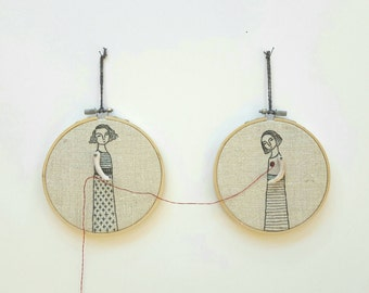 hand embroidered art  hoop art - the mender textile art  fiber art