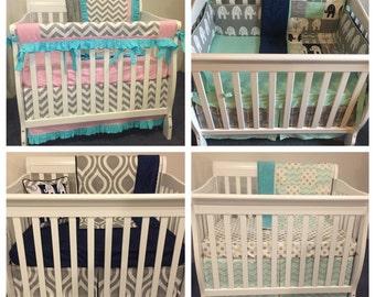 YOU DESIGN Custom Boutique MINI Crib Bedding Nursery Girl Boy Neutral Set Pick Your Fabrics