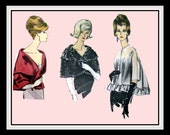 Vintage 1960s-GLAM EVENING CAPES-Jacket-Vogue Sewing Pattern-Dramatic Shawl Collar-Faux Fur Caplet-Circular Ruffle Jacket-Size 14-16-Rare