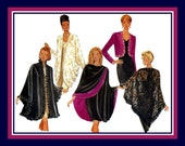 Vintage 1994-Glamorous Draped Cocoon Jacket-Sewing Pattern-Contrast Wrap-Cropped  Jacket-Ruffle Trim Cape-Fringe Shawl-Uncut-All Sizes-Rare