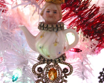 Cherub angel Assemblage art doll ORNAMENT teapot mixed media encrusted vintage rhinestones Bisque doll Christmas crystal ONE  by Sorrentino
