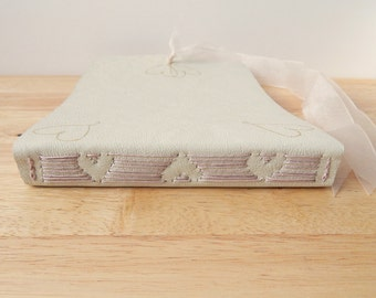 Cream Leather Wedding Guest Book with Gold and Blush Heart Design - Made to Order