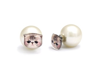 Cute Newborn Grey and White Exotic Kitten Stud Earrings with Pearl ear back stopper - A025ERP-C44 Made To Order