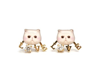 Cute White Persian Cat Stud Earrings with Love - A025ERL-C25 Made To Order