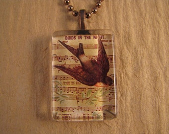 "Musical Bird Flat Rectangle Glass Pendant with 24"" Ball Chain Necklace"