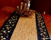 Quilted Table Runner, Moose Table Runner, Cabin Lodge Adirondack Decor