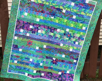 Handmade Quilt, Kaffe Fassett Quilt, Blue Green Lap Quilt, Quiltsy Challenge Quilt, Quilted Couch Throw, Quilted Comforter, Dorm Quilt