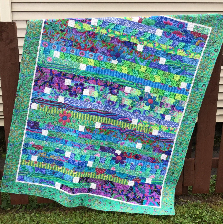 Handmade Quilt Kaffe Fassett Quilt Blue Green Lap Quilt