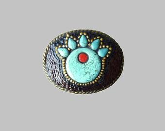 "Native American Style Western Southwestern ""Bear Paw"" Symbol Mosaic Belt Buckle"