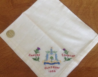 Glasgow Empire Exhibition, 1938, Souvenir Hanky, Handkerchief, Thistles, Fish, Shield, Man with a cane