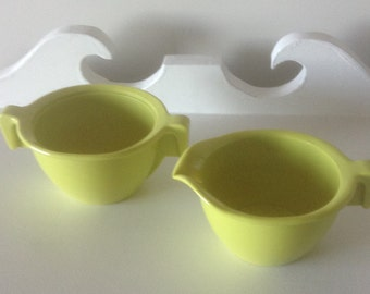Vintage Rainboware Cream and Sugar, Chartreuse, Melmac set, Made in Canada