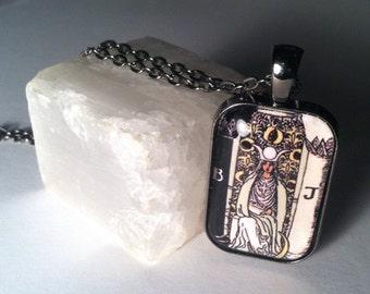 Tarot Necklace High Priestess Glass Image Pendant