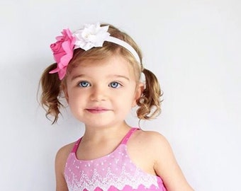 Baby Infant Girls Chiffon Satin Rose Girls Headband with pearl center for wedding birthday flower girl headband