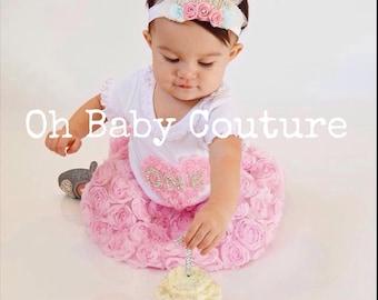 Birthday Girl Babys 1st Birthday Feather Crown Rhinestone ONE for your Birthday girl photo prop for birthday Handmade