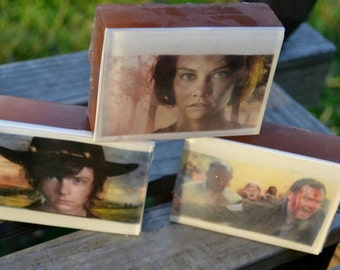 Walking Dead Graphic Art Soap Bar - Carl/Rick/Maggie/Rosita Group - Novelty Soap - AN AJSWEETSOAP EXCLUSIVE