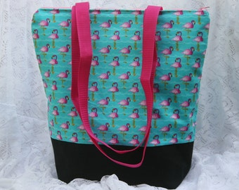 Choose Your Fabric- Pink Flamingo Fully Insulated Lunch Bag- Tote-Washable-Water and Mildew Resistant Interior -Large-Tall Size