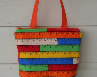 Wooden Rulers Fully Insulated Lunch Tote- Bag- Zipper Lunch Bag Water and Mildew Resistant Interior