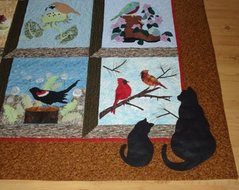 3-D Quilt Birds Cats  Handmade Picture Window Blocks Wall Decor Bed Textile Art Quilt