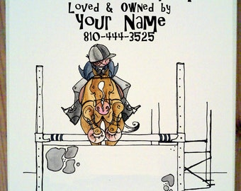 Hunter jumper Horse Stall Sign with up to four lines of personalization.