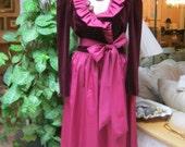 Vintage maroon plum ruffle neck cocktail dress, size M burgundy tones romantic dress,  R & K Originals 70s party dress, wrap ruffle dress 10