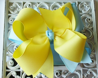 New Item---Big Boutique Doubled Layered Hair Bow Clip---Lemon & Blue