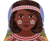 Aboriginal Australian Matryoshka Print Babushka Nesting Dolls Girl Dress Nationality Adoption Cultural Diversity Kids Wall Art Nursery Decor