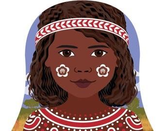 Aboriginal Australian Wall Art Print features cultural dress drawn in a Russian matryoshka nesting doll shape