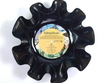 Talking Heads Vinyl Record Bowl Vintage LP Album 1985 (Little Creatures) Colorful Yellow Green Art Design Label