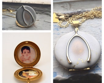 Locket Necklace Custom Photograph Quote Placement Enamel Wishbone Brass Charm Personalized Jewelry Layer Gifts for Her