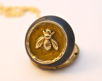 Vintage Locket Necklace Bee Bumblebee Beeswax Bees Honey Necklaces Photograph Lockets Unique Gift Bumble Bee Perfume Locket Jewelry Portland