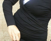 Sale Black maternity top-Plus size top-Snuggle up shirt -Convertible top-3 way top- Maternity clothes