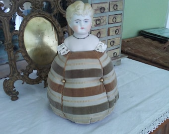 Repurposed Antique Doll Bust Pin Cushion
