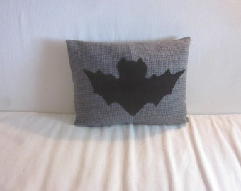 Wool Felt on Plaid Black Bat Pillow