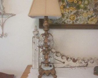 Vintage Hollywood Regency Lamp with Bobeches and Prisms