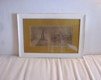 Vintage Original Water Color Landscape Art with Distressed Frame