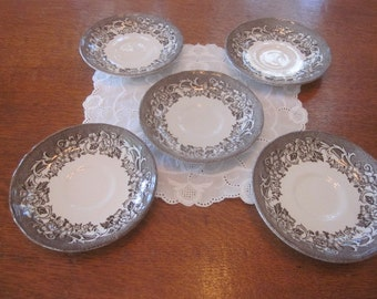 Vintage J G Meakin Ironstone Stratford Stage Saucers with Cup Indent Lot of 5