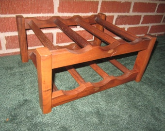 Vintage Mid Century Danish Modern Walnut 6 Bottle Wine Rack